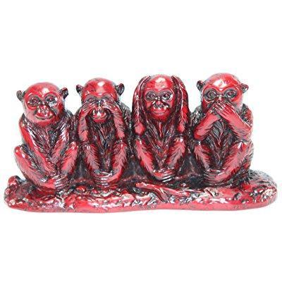 feng shui red see no evil, hear no evil, speak no evil monkey four wise monkeys figurine statue wealth lucky figurine home decor gift us seller