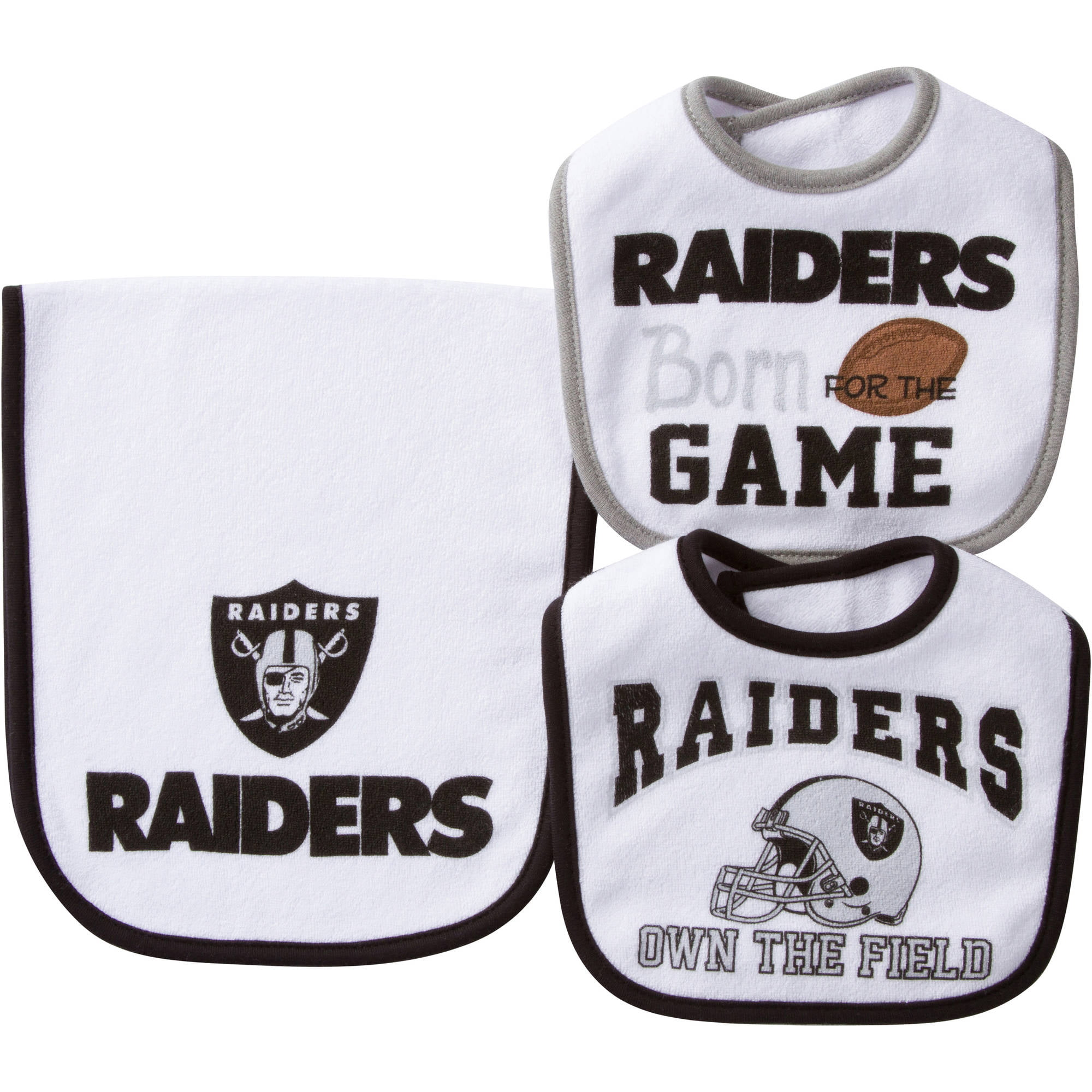NFL Oakland Raiders Baby Accessory Set, 2 Bibs and 1 Burp Cloth, 3-Piece by