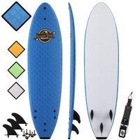South Bay Board Co. 7' Blue Ruccus Soft Top Surfboard, Leash & Fins