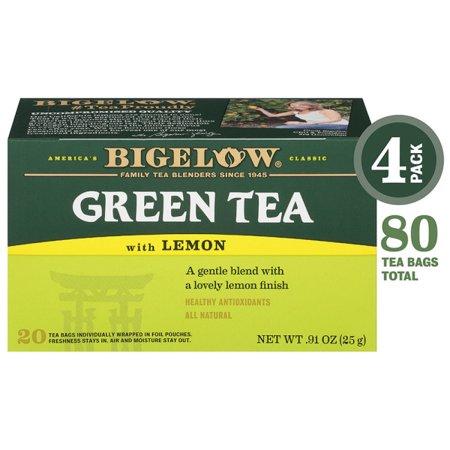 Bigelow Green Tea with Lemon, Tea Bags, 20 Ct (4 Boxes)