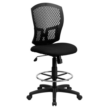 Flash Furniture Mid-Back Designer Back Drafting Chair with Padded Fabric Seat Designer Black Fabric Seat