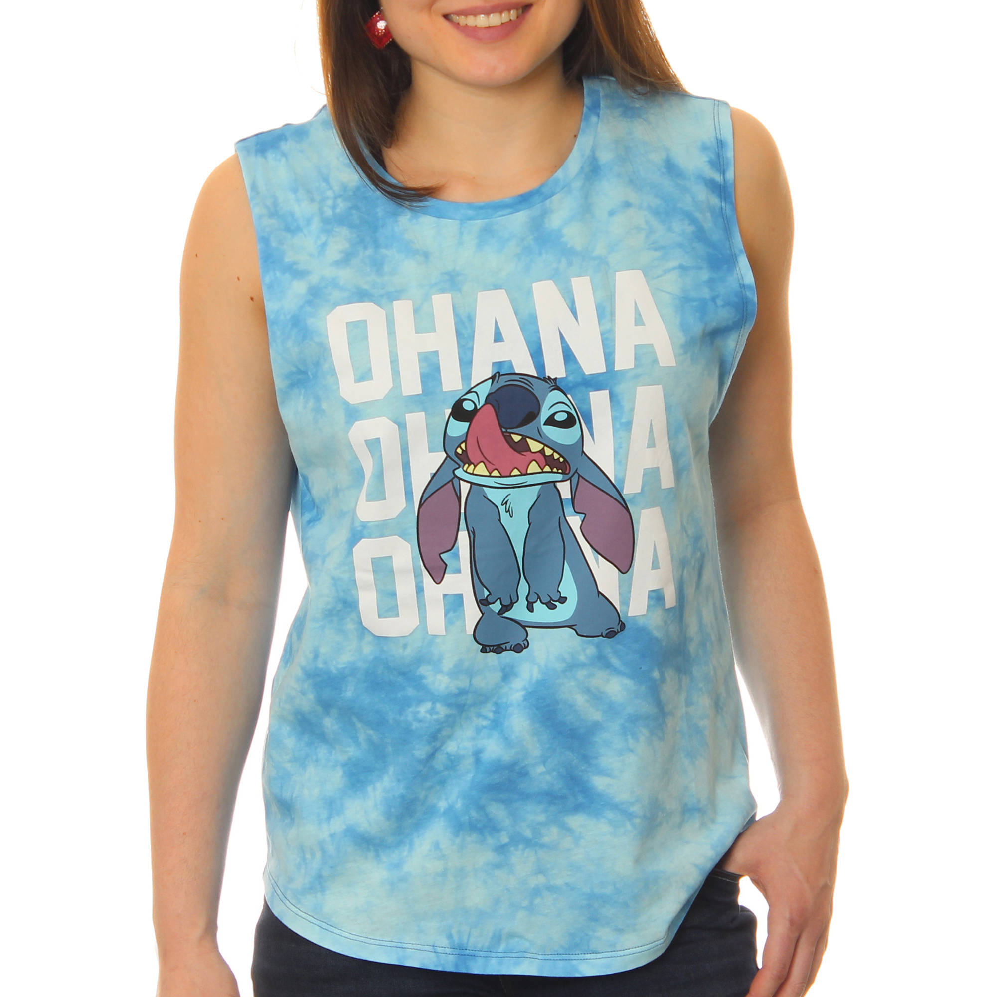 Lilo and Stitch Juniors' Licking Nose 'Ohana' Muscle Graphic Tank Top With Tie Dye Coloring by
