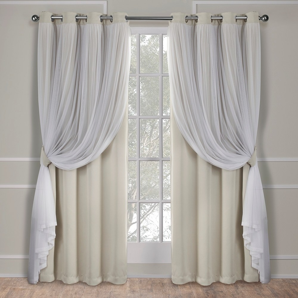 Exclusive Home Curtains 2 Pack Catarina Layered Solid Blackout and Sheer Grommet Top Curtain Panels