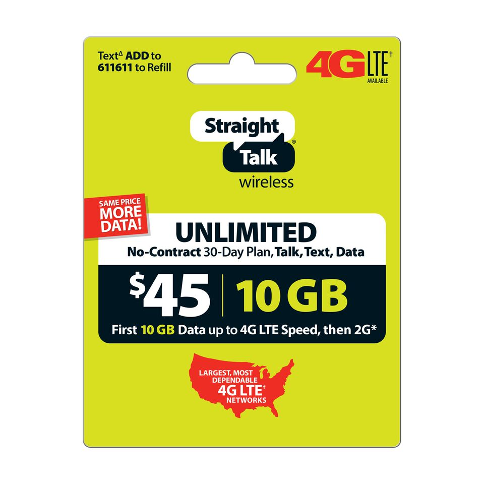 Straight Talk $45 Unlimited 30 Day Plan (with up to 10GB of data at high speeds, then 2G*) (Email Delivery)
