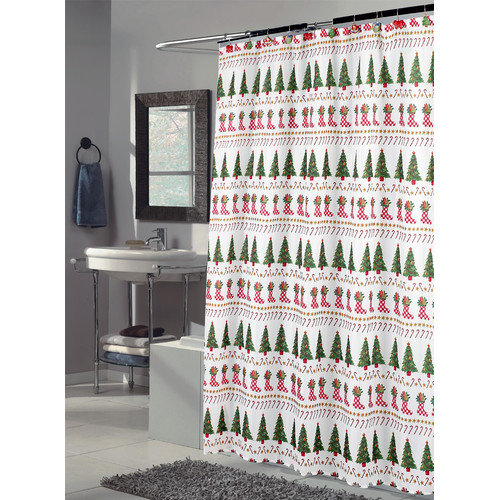 Carnation Home Fashions Christmas Time Tree and Stocking Fabric Shower Curtain
