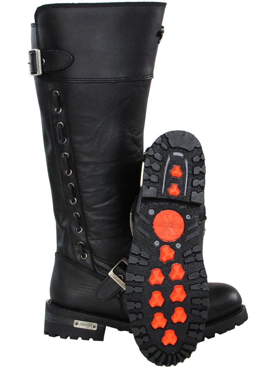 Xelement X93009 BLACK Myna Womens Black Performance Leather Boots 9.5