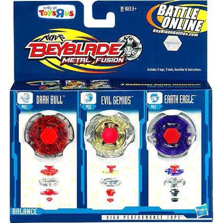 Beyblade Metal Fusion Earth Eagle, Evil Gemios & Dark Bull 3-Pack (Earth Eagle Beyblade)
