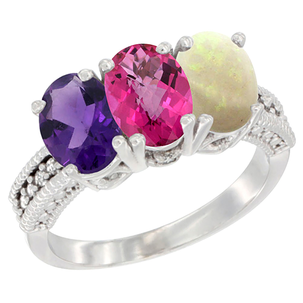 10K White Gold Natural Amethyst, Pink Topaz & Opal Ring 3-Stone Oval 7x5 mm Diamond Accent, sizes 5 10 by WorldJewels