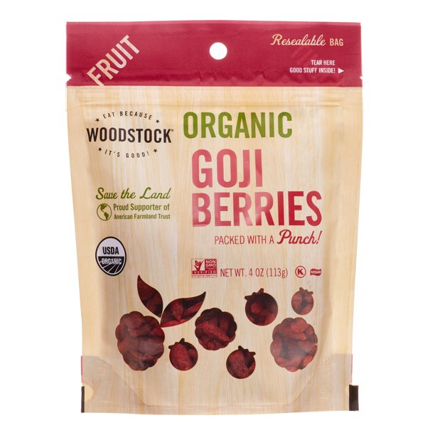 Woodstock - Organic Goji Berries - Case Of 8 - 4 Oz.