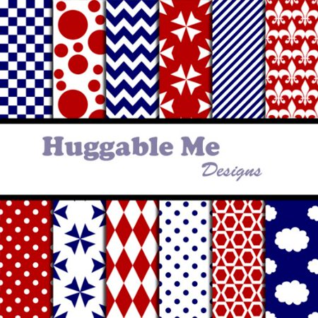 12 Patterned Scrapbook Paper (Red White & Blue Patterns Scrapbook Paper - Digital Files on CD, 12 Designs of digital scrapbook paper on CD By Huggable Me)