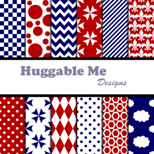 Red White & Blue Patterns Scrapbook Paper - Digital Files on CD, 12 Designs of digital scrapbook paper on CD By Huggable Me Designs