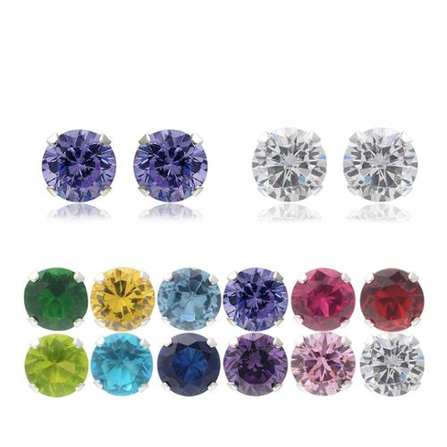 Journee Collection Sterling Silver Cubic Zirconia Round Stud Earrings (Set of 2) Light Green/ Clear