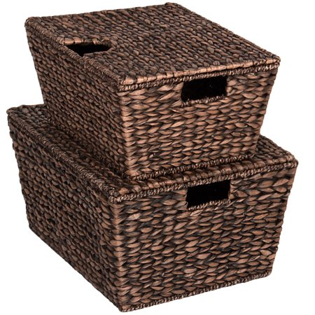 Best Choice Products Set of 2 Multipurpose Classic Water Hyacinth Woven Tapered Storage Basket Chests for Organization, Laundry, Decoration w/ Attached Lid, Handle Holes - Brown