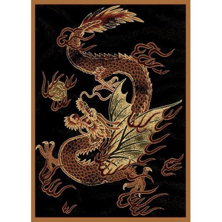 Designer Home Epoch Area Rugs - 910-03230 Novelty Black Dragon Asian Chinese Mythical Rug 5' 3