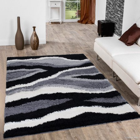 - Allstar Modern Contemporary Grey High Pile Posh Shaggy Wave Patterned Area Rug (5' 0