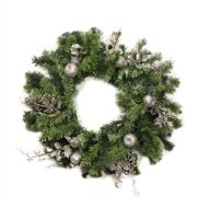 "24"" Pre-Decorated Silver Fruit Holly Berry and Leaf Artificial Christmas Wreath - Unlit"