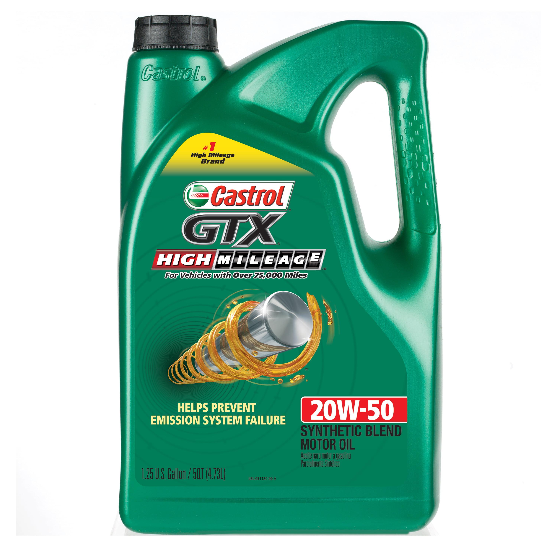 Castrol GTX High Mileage 20W-50 Synthetic Blend Motor Oil, 5 QT by Castrol