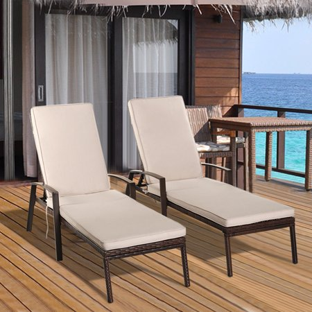 Costway 2PCS Patio Rattan Lounge Chair Garden Furniture Adjustable Back W/ - Furniture Lounger