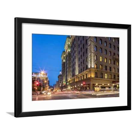 Powell and Geary Street at Dusk in San Francisco, California, Usa Framed Print Wall Art By Chuck (Powell Street In San Francisco)