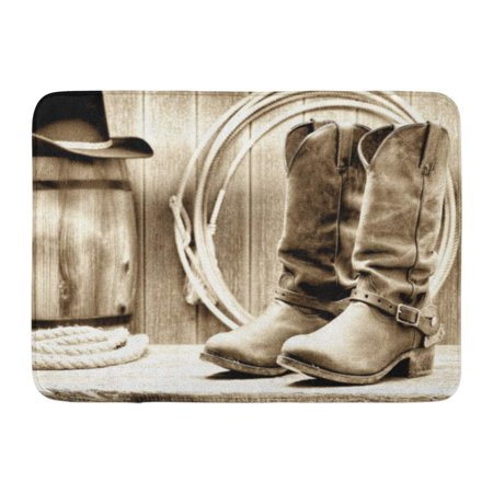 GODPOK American West Rodeo Cowboy Traditional Leather Working Rancher Roper Boots with Authentic Western Riding Rug Doormat Bath Mat 23.6x15.7 inch
