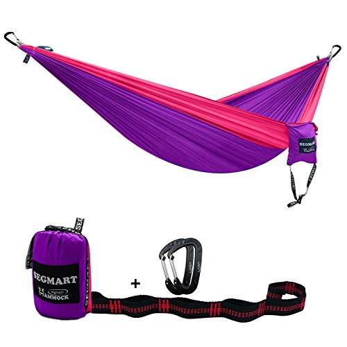 Camping Hammock- Easy Hanging Double Hammock with Tree Straps&Carabiners,Purple/Red,600lbs, I0110