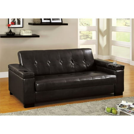 Furniture of America Cassia Leather Sleeper Sofa in Espresso ()