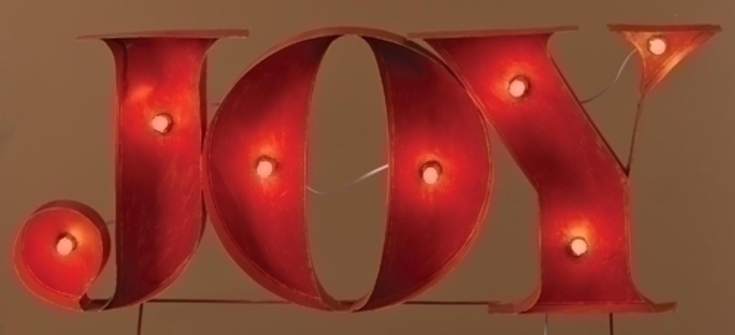 45 Decorative Lighted Red Joy Outdoor Christmas Yard Art Sign