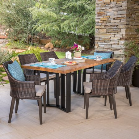 Athena Outdoor 7 Piece Wicker Dining Set with Light Weight Concrete Dining  Table, Multibrown and Textured Brown Finish - Walmart.com