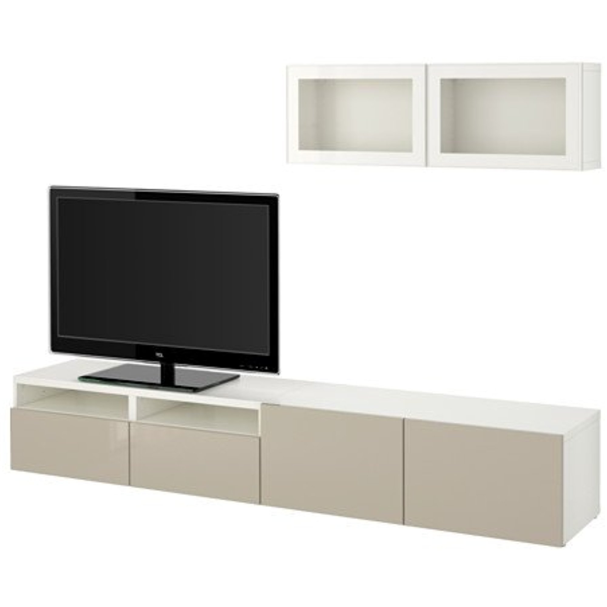 Ikea Tv Storage Combination With Push Open Drawers And Glass Doors  # Meuble Tv Kaorka Ikea