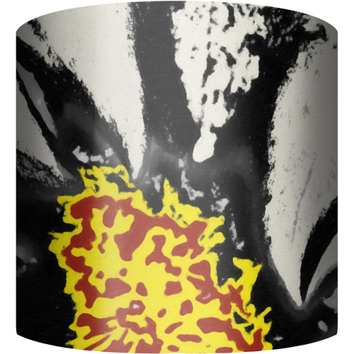 "10"" Drum Lamp Shade, Black and Red Flower Burst"