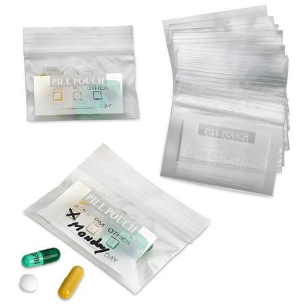 100 Zipper Pill Bags Pouch AM PM Vitamin Organizer Medicine Daily Medication