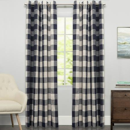 Nylon Single Panel - Courtyard Grommet Plaid Window Curtain Single Panel 84