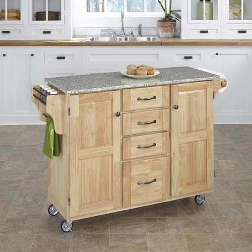 August Grove Adelle-a-Cart Kitchen Island with Granite Top