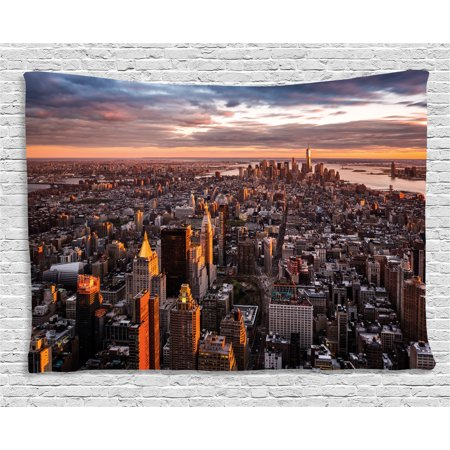 Usa Tapestry  Aerial View Of The Manhattan Skyline At Sunset Famous Financial District Nyc  Wall Hanging For Bedroom Living Room Dorm Decor  80W X 60L Inches  Blue Orange White  By Ambesonne
