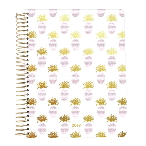 Mary Square Metallic Gold Pineapples 18 Month 7 x 9 Spiral Agenda 2019