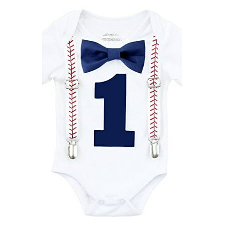 Noah's Boytique Baby Boy First Birthday Outfit Baseball Theme Party Shirt Navy Bow Navy Number One 6-12 - Superhero Themed Outfits