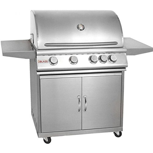 Blaze 32-Inch 4-Burner Freestanding Propane Gas Grill With Rear Infrared Burner - BLZ-4-LP