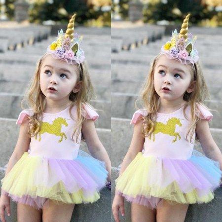 Unicorn Fancy Dress Costume (Fashion Newborn Baby Girls Unicorn Lace Tutu Romper Fancy Dress Outfits Kids Costume)