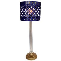 Metal Drum Table Lamp Blue D11 inch x31 inch