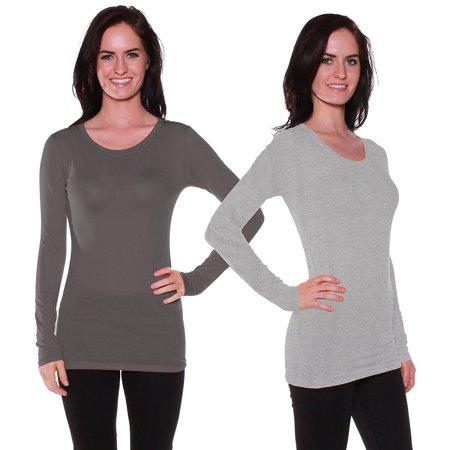 07d391e9 Women & Juniors Basic Fitted Solid Plain Crew Neck Long Sleeve T Shirt Top  - Walmart.com