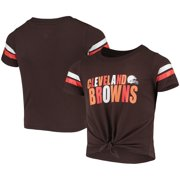 Cleveland Browns New Era Girls Youth Tie Front T-Shirt - Brown