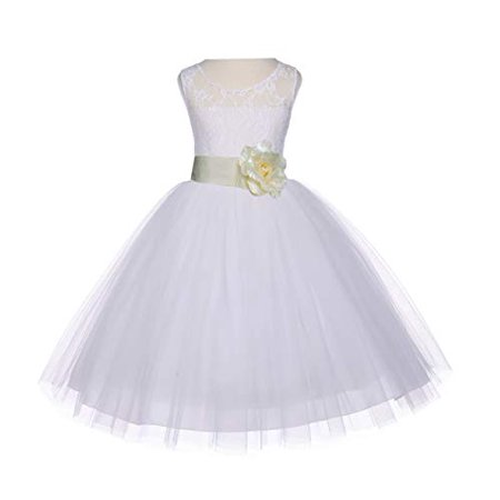 Ekidsbridal Ivory Floral Lace Bodice Tulle Flower Girl Dress Tulle Dresses Girl Lace Dresses Special Occasion Dresses Junior Bridesmaid Dress Easter Summer Dresses Birthday Girl Dress Ball Gown 153S