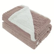 "Piccocasa Cozy Warm Microplush and Faux Lambswool,1 Piece Throw(50"" x 60"") Blanket,Camel"