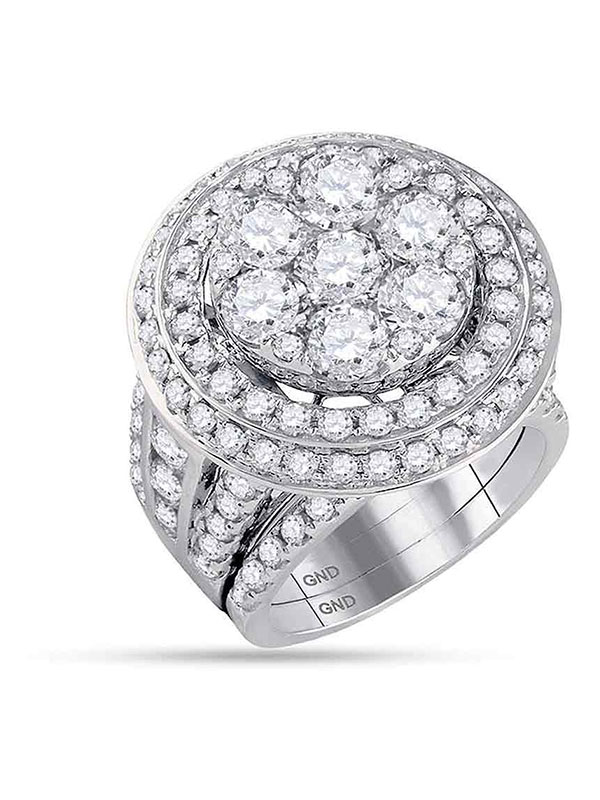 14kt White Gold Womens Round Diamond Cluster Bridal Wedding Engagement Ring Band Set 7.00 Cttw by GND