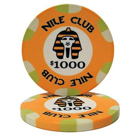 Nile Club 10g Ceramic Poker Chips, $1,000 Casino-Grade Ceramic, 25-pack Game Day Ceramic Chip
