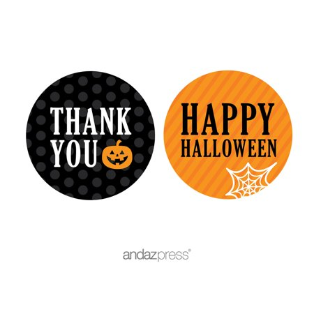 Thank You Orange Black & Orange Halloween Thank You Circle Label Stickers, 40-Pack](Family Circle Halloween Craft Ideas)
