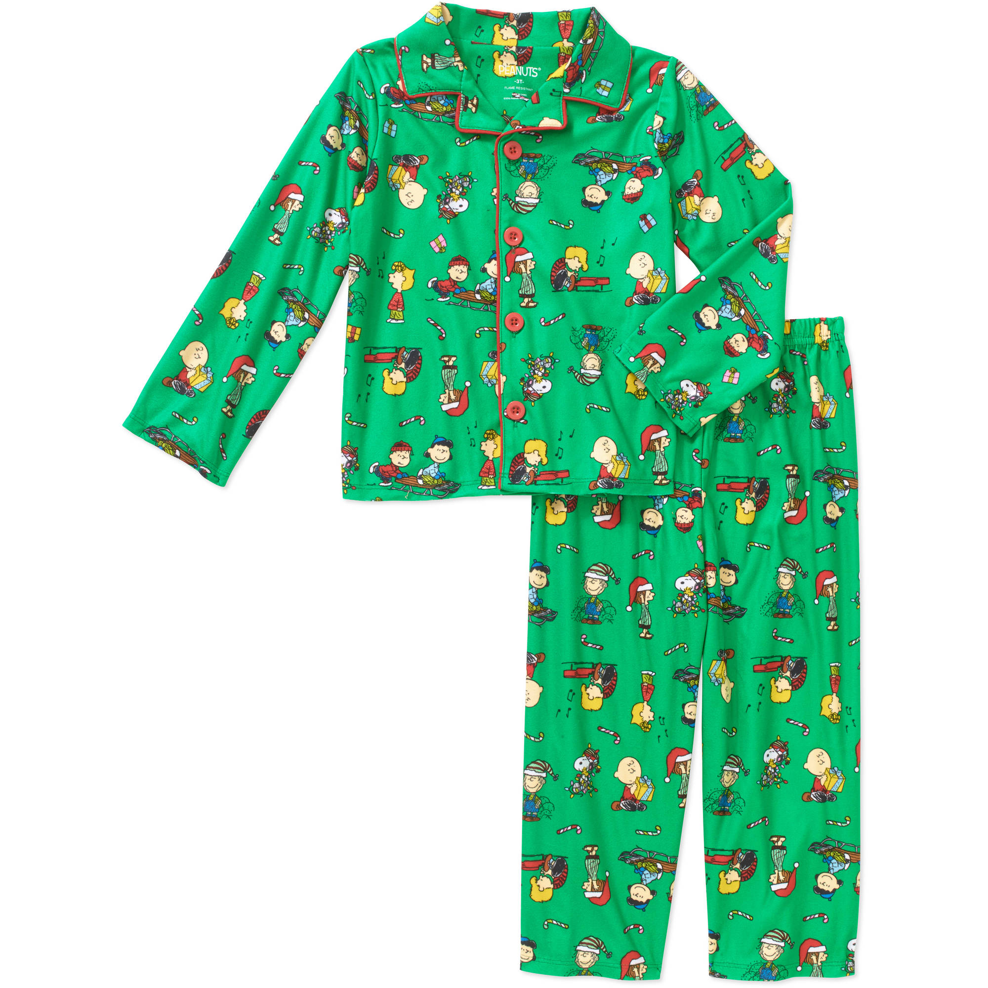 Peanuts Toddler Boys' Holiday Button Down Pajamas 2-Piece Set