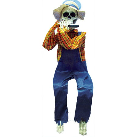 36in. Skeleton Playing Harmonica Halloween - Life Size Skeleton Decoration