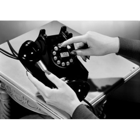 Woman holding vintage telephone Canvas Art - (24 x 36)