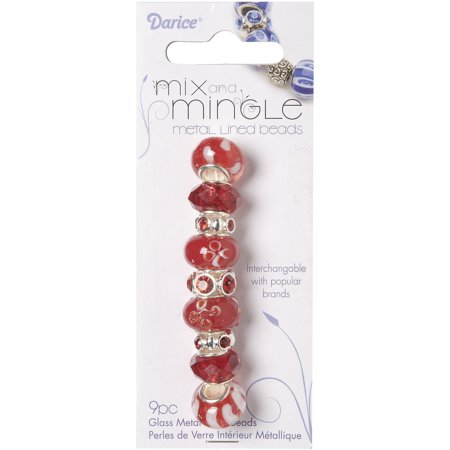 (Darice Mix and Mingle Glass Metal Lined Beads, Red, 9-Pack)